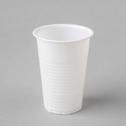 Plastmasas glāzes 200ml, baltas, PP, iepakojumā 100gab.
