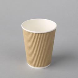 Papīra glāzes 350ml ar rievainu ārējo sieniņu, kraft, ø90mm, iepakojumā 25gab.