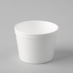 Plastmasas termo trauki 350ml, balti, EPS, iepakojumā 25gab.
