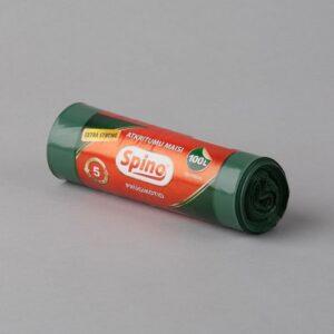Atkritumu maisi 100L, 70x110cm, zaļi, LDPE, rullī 5gab.