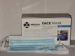 3-slāņu sejas ķirurģiska sejas maska sienama, zila – Tie-On, BFE 99%, (50 gb.)